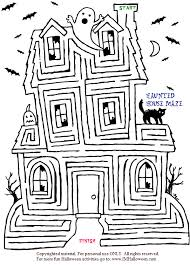 spooky halloween haunted house maze print color