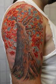 collection of 25 watercolor tree tattoos on half sleeve