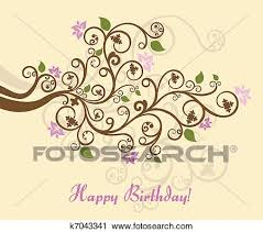 clipart of feminine floral happy birthday card k7043341 search
