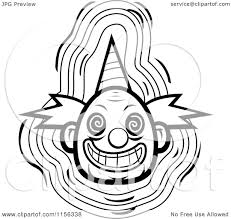 cartoon clipart of a black and white evil clown face with a party