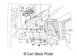 stock photo of freehand bedroom picture sketch of a roomy