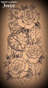 tatto ideas 2017 heart shaped pocket watch and roses tattoo
