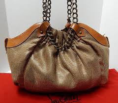 christian louboutin telescope beige gold canvas leather chain