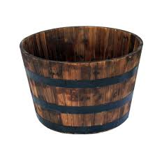 26 in round wooden barrel planter hl6642 the home depot
