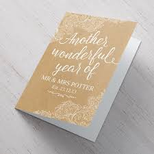 personalised anniversary card gold white lace wonderful year