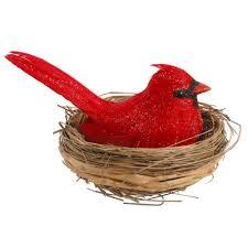 cardinal in nest ornament