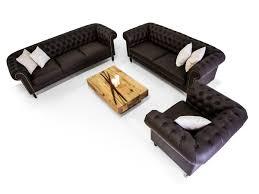 Wohnzimmer Couch Kaufen Chesterfield Santos 3 2 1 Sofa Garnitur Kunstleder Braun