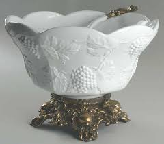 Pedestal Punch Bowl Colony Harvest Milk Glass At Replacements Ltd