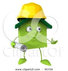 Blueprints Builder Royalty Free Rf Clipart Illustration Of A 3d Green Clay Home