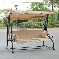 Glider Swings With Canopy by Decor 2 Seat Canopy Glider Swing Tan Finish With Black Metal
