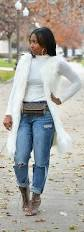 faux fur vest boyfriend jeans fall idea turtleneck