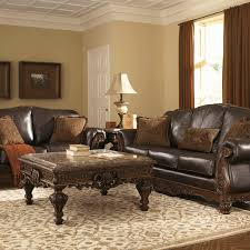 North Shore Dark Brown Genuine Leather Sofa Set Louisville - Expensive living room sets