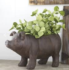 amazon com pig planter for plants or storage pot 17 5 inches
