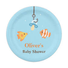 fishing themed baby shower baby shower supplies plates zazzle