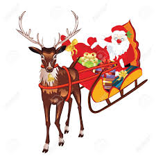 santa sleigh and reindeer santa claus on sleigh and reindeers royalty free