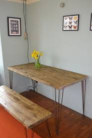 industrial kitchen table and x 2 chairs mid century style hairpin
