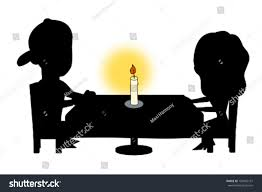 dinner silhouette couple having dinner candlelight cartoon silhouette stock vector