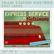 Train Decor Kids Train Art For Kids Room Train Station Posters Set Of 3