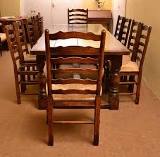 Dining Table And 10 Chairs Bespoke Solid Oak Refectory Dining Table And 10 Chairs For Sale At