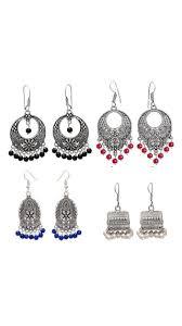 jhumki earring buy zcarina oxidized silver plated colorful jhumka jhumki earring