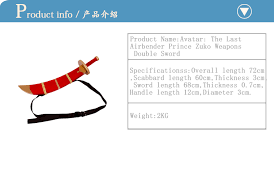 avatar airbender cosplay prince zuko weapons double