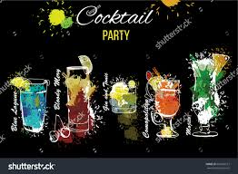 vector illustration cocktail party set template stock vector