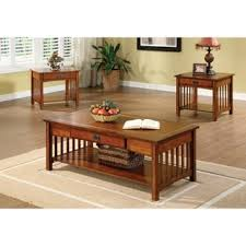 Coffee And End Table Set Furniture Of America Nash Mission Style 3 Antique Oak Finish