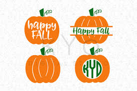 happy fall autumn halloween pumpkin monogram svg dxf png eps files