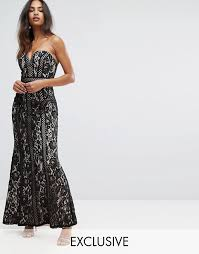 bariano dresses bariano bariano sweetheart maxi dress in panelled lace