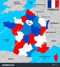 Italy France Map by Political Map France Regions Different Colors Stock Illustration