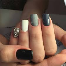 anastasiyadri grey nails gray nails black nails nail design