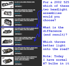 list options available sorted by cost for 2001 2003 e39 broken