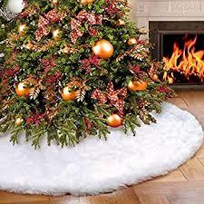 faux fur tree skirt aytai luxury faux fur christmas tree skirt 48 inches soft snow