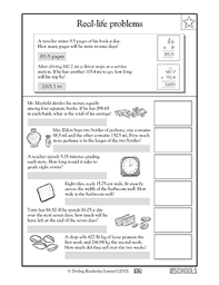 4th grade 5th grade math worksheets real life problems working