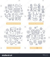 doodle design style concept marketing activities stock vector