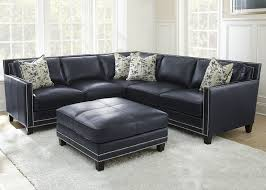 sectional couch sofa blue silver nailheads top grain leather