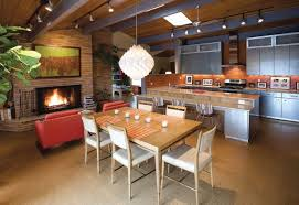 amazing modern kitchen decor ideas with wooden dining table and