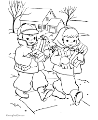 kids christmas coloring pages bringing gifts