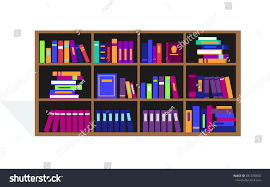 large bookcase different books bookcase full stock illustration