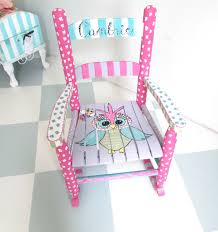 pink kids rocking chair personalized child rocking chair custom child rocker owl