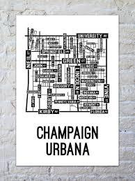 Iowa Illinois Map Champaign Urbana Illinois Street Map Print Street Posters