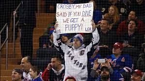 new york rangers fans the sidney crosby sign a fan had at msg on friday sny