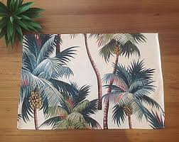 Palm Tree Runner Rug Palm Leaves Tropical Table Runner Coastal Classic Vintage