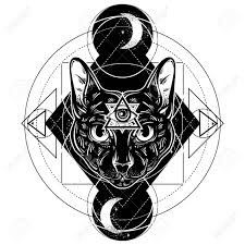 vector ilustration of cat all seeing eye pyramid