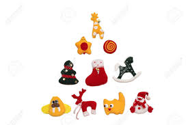 new year toys new year tree formed with handmade christmas toys white