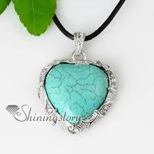 heart stone necklace pendants images Heart semi precious stone glass opal turquoise rose quartz jade jpg