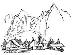Coloriage  Village dans la montagne  Coloriages à imprimer gratuits