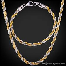 tone gold necklace images U7 two tone gold plated rope chain necklace set party jewelry 18k jpg