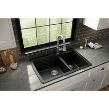 lowes 60 inch kitchen sink base cabinet karran drop in 34 in x 22 in black offset bowl 1 kitchen sink