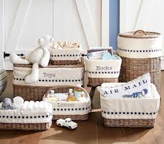 Pottery Barn Baskets With Liners Taupe Sabrina Basket Collection Pottery Barn Kids